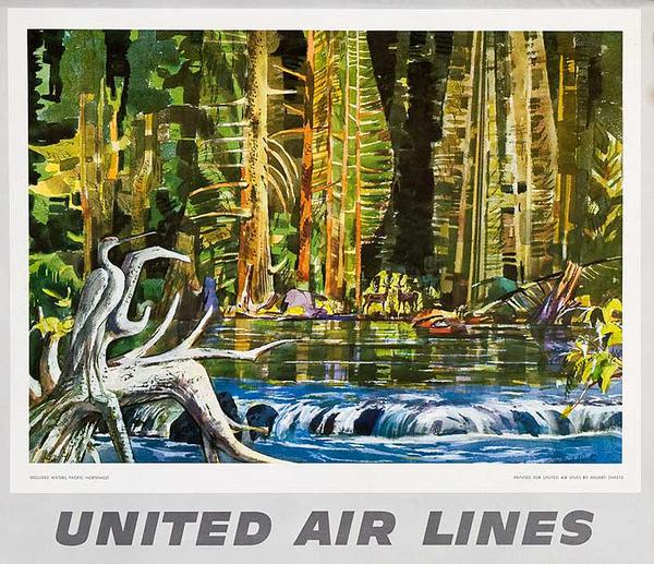 United Airlines Original Small Sized Poster Pacific Waters