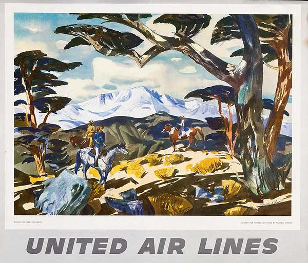 United Airlines Original Small Sized Poster Trail Ride Colorado