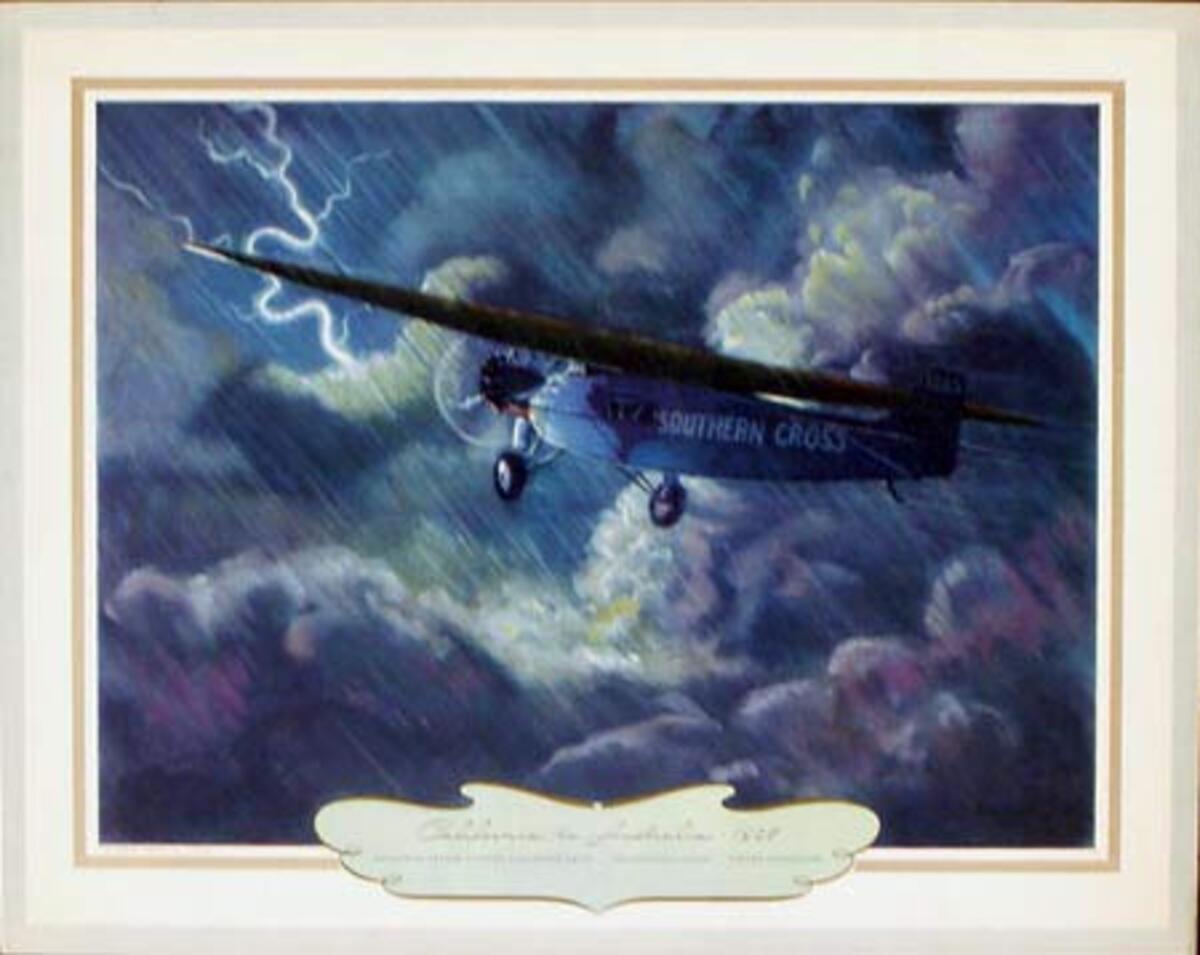 Vintgage Aviation Print California to Australia 1928