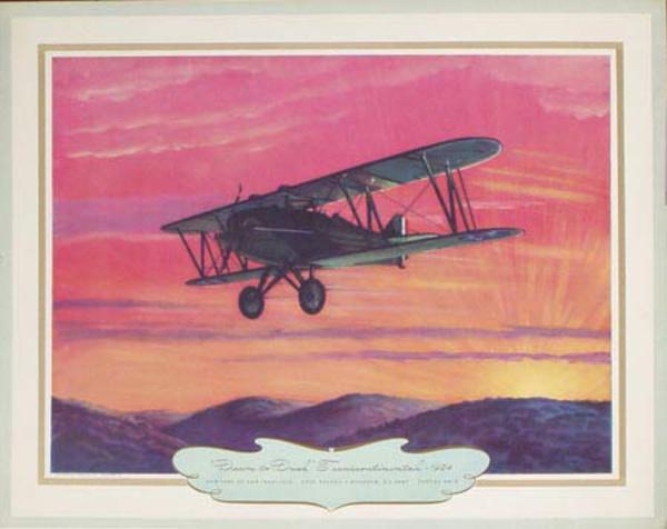 Vintgage Aviation Print  Dawn to Dusk Transcontinental 1924