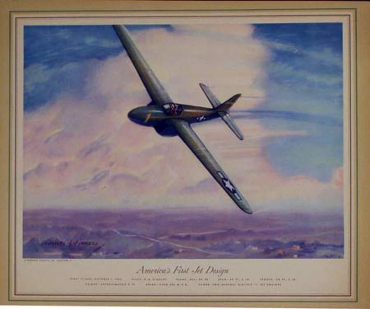 Vintgage Aviation Print Americas First Jet Design