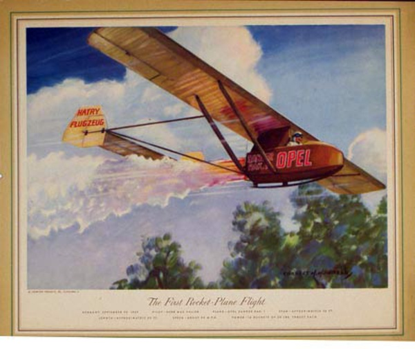 Vintgage Aviation Print First Rocket Plane Flight 1929