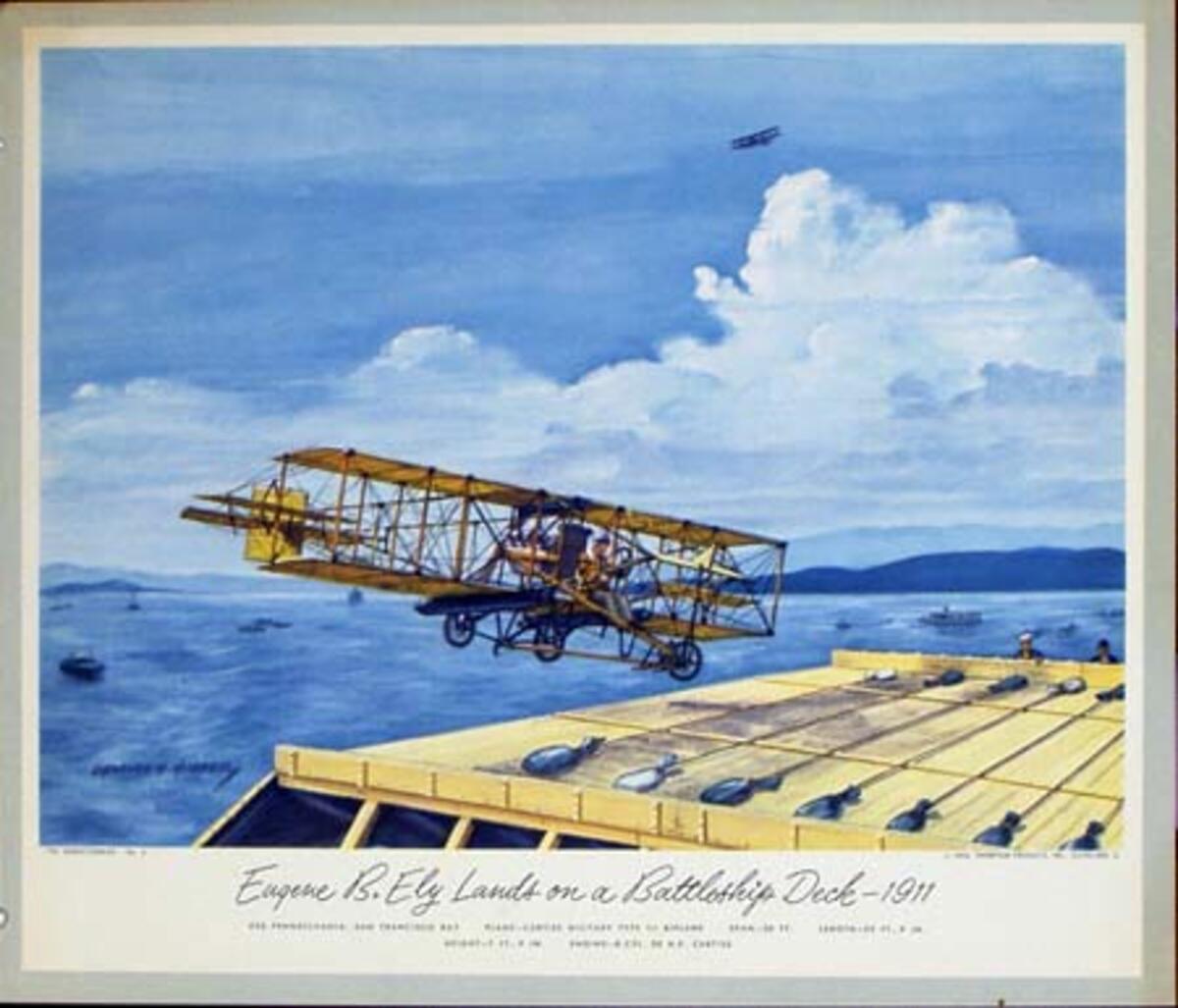 Vintgage Aviation Print Eugene B. Ely Lands on A Battleship Deck 1911