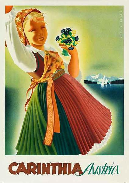 Original Vintage Austria Travel Poster Carinthia Girl