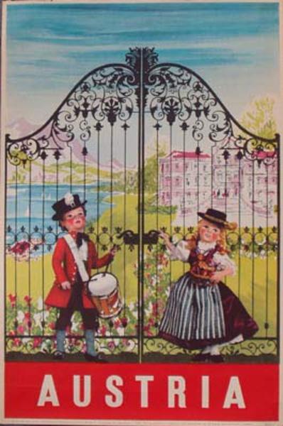 Original Vintage Austria Travel Poster Kids at Gate