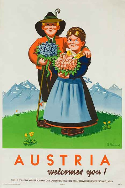 Austria Welcomes You! Travel Poster Kids