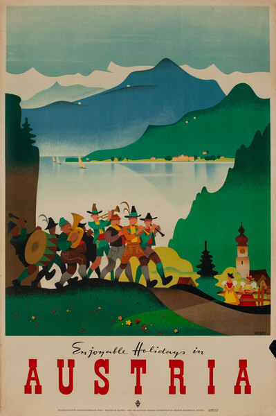Original Vintage Austria Travel Poster Enjoyable Holidays