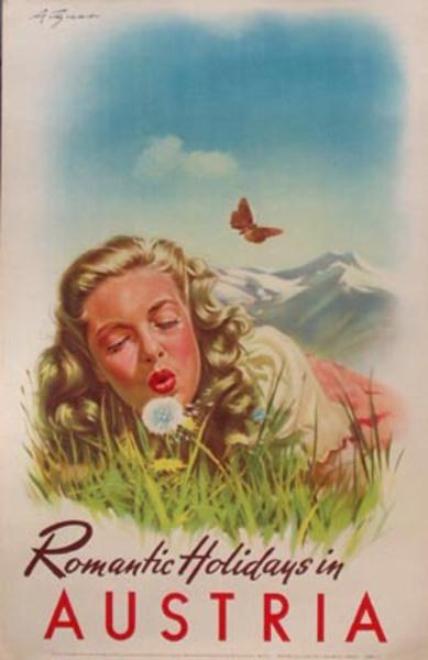 Original Vintage Austria Travel Poster Romantic Holidays