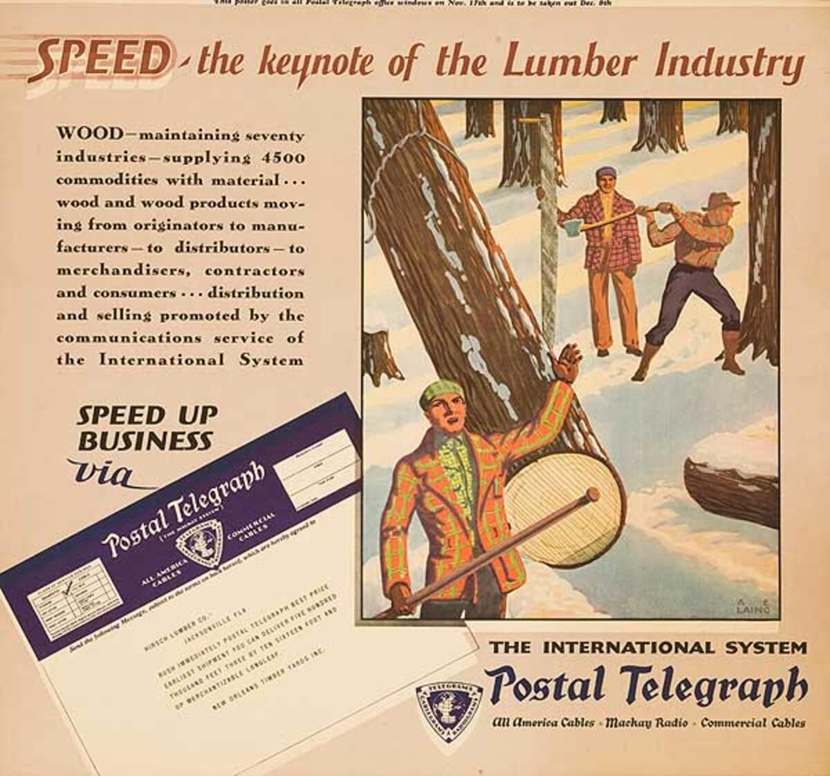 Postal Telegraph Original Vintage Poster Lumber Industry