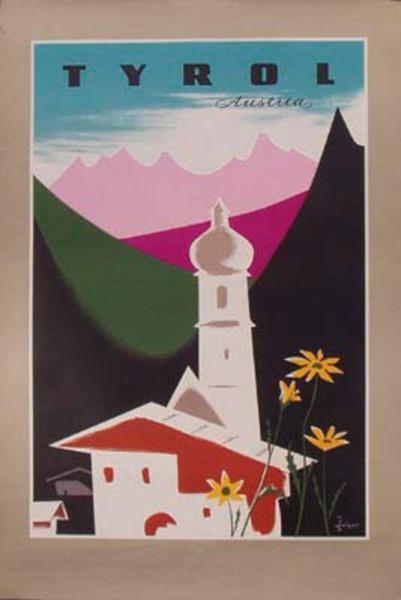Original Vintage Austria Travel Poster Tyrol