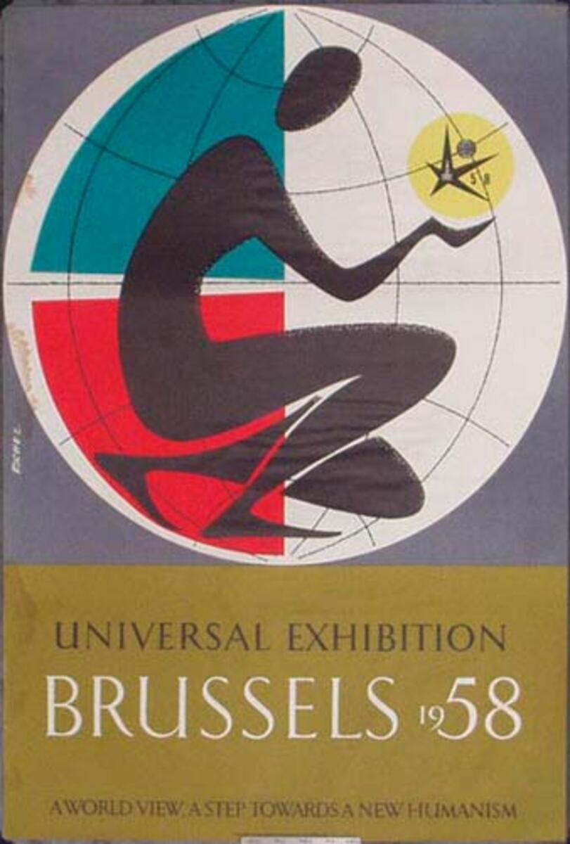 Belgium Expo 1958 Original Vintage Travel Poster