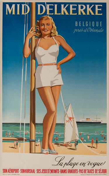 Belgium Mid Delkerke Original Vintage Travel Poster