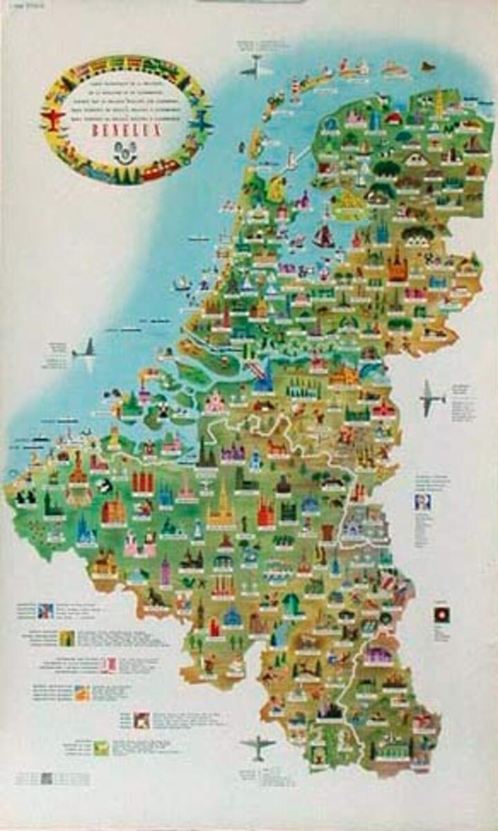 Benelux Map Original Vintage Travel Poster