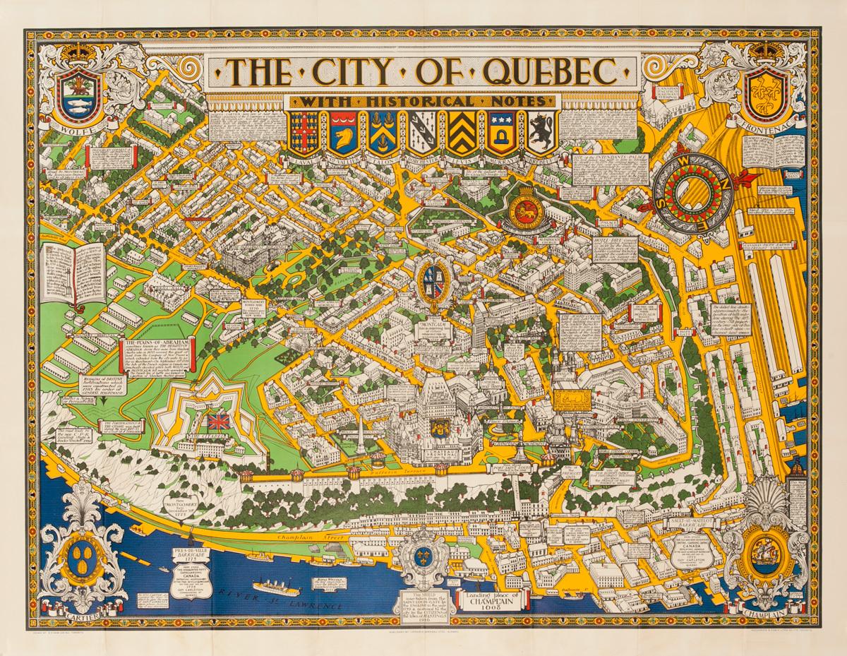 Original Quebec Canada Souvenir Poster Map