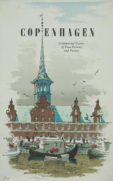 Copenhagen Denmark Travel Poster Commercial Center Past Present and Future