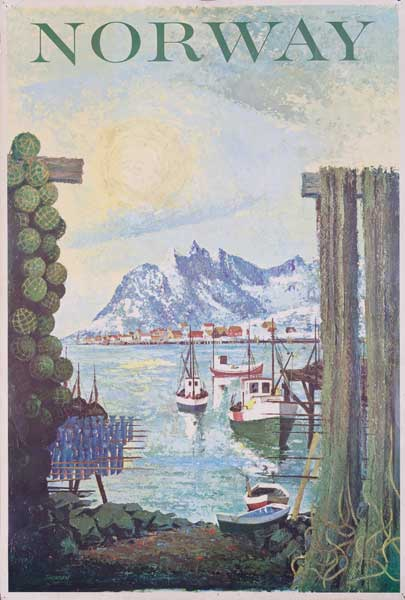 Norway Fishing Village Original Travel Poster