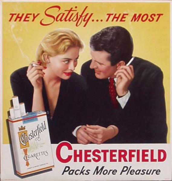Original Vintage Chesterfield Cigarette Poster They Satisfy The Most