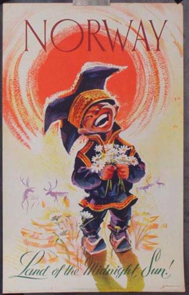 Norway Midnight Sun Kid Original Vintage Travel Poster
