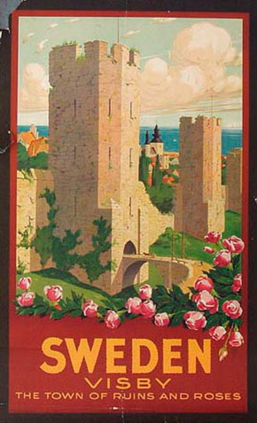 Sweden Visby Town of Roses and Ruins Original Vintage Travel Poster