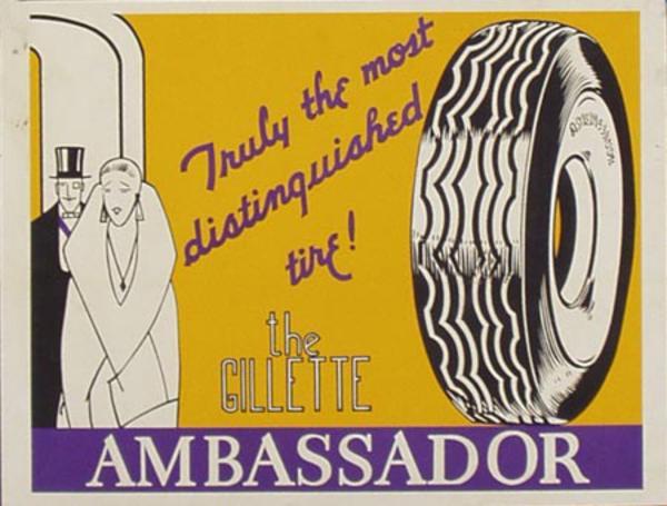 Gilette Ambassador Tires Original Advertising Poster