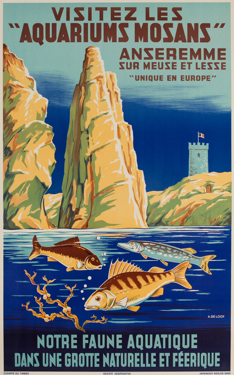 Aquarium Mosans Original Vintage Travel Poster