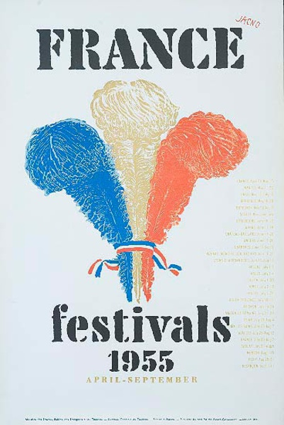 France Festivals 1955 Original Travel Poster