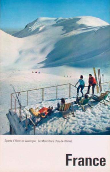 Sports d'Hiver en Auvergne Winter Sports Le Mont Dore Original Vintage French Ski Travel Poster
