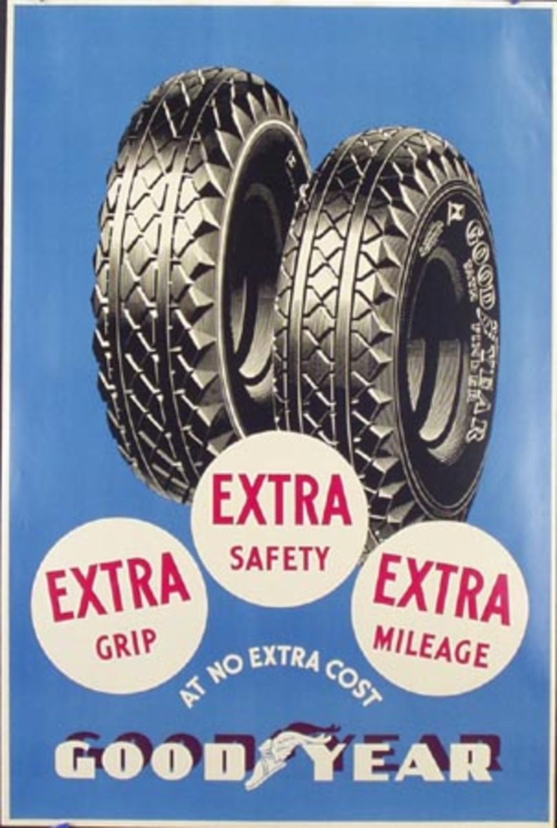 Goodyear Tires Original Advertising Poster Extra Grip Safety Milage
