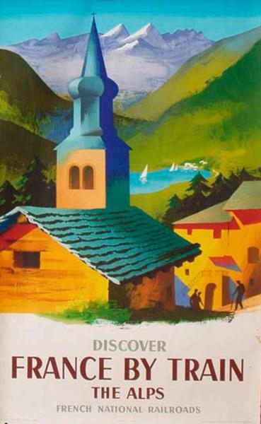 France SNCF Alpes Original Vintage Travel Poster