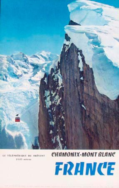 Chamonix - Mont Blanc  Original Vintage French Ski Travel Poster rock face