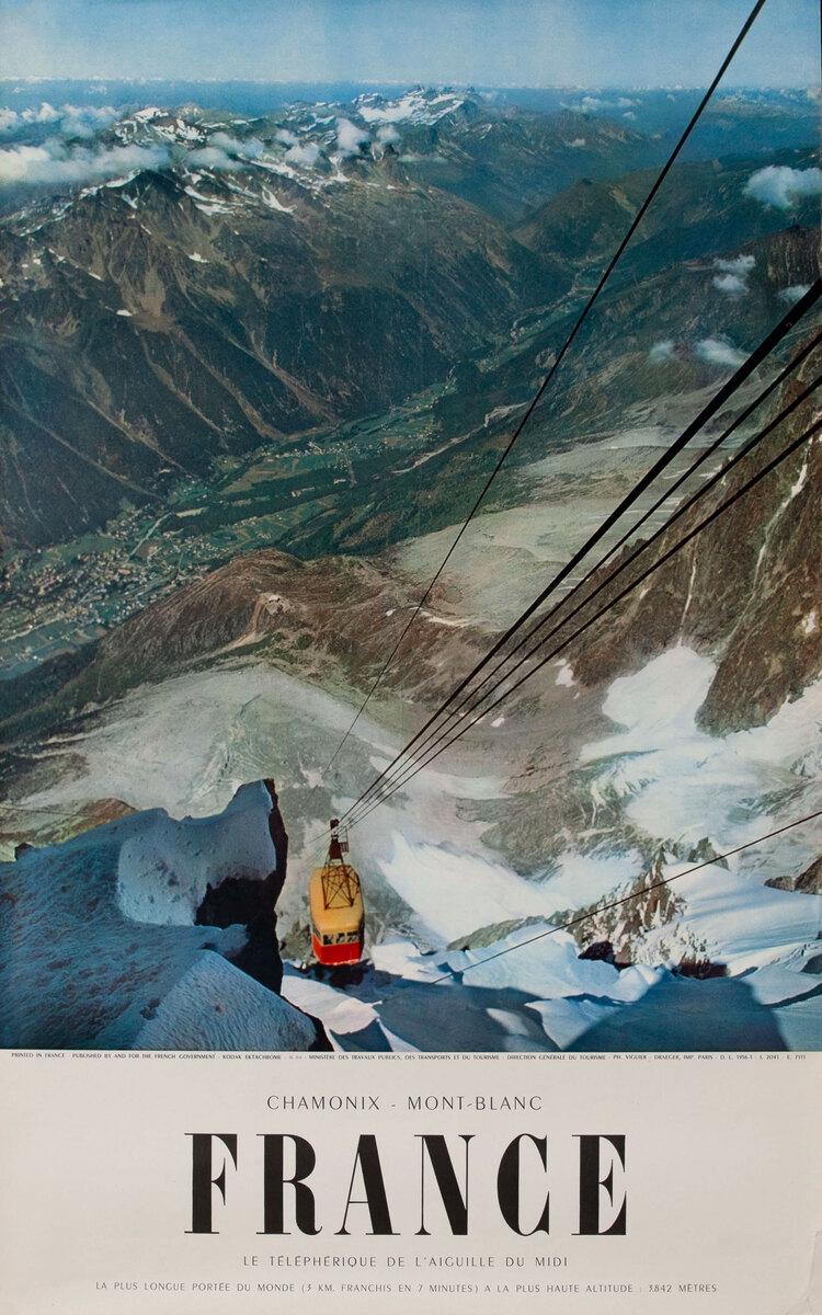 Chamonix - Mont Blanc  Original French Ski Travel Poster yellow cable car