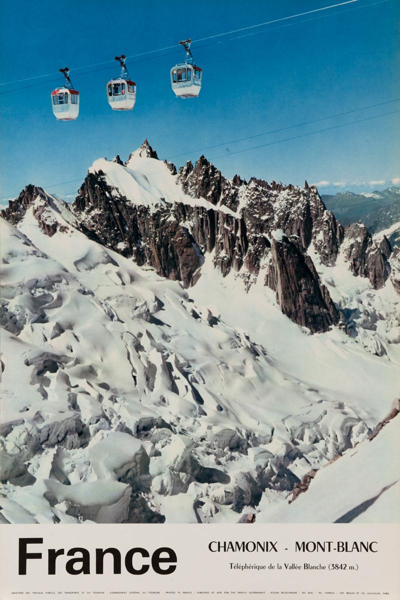 France Chamonix Mt Blanc Original Vintage Ski Travel Poster