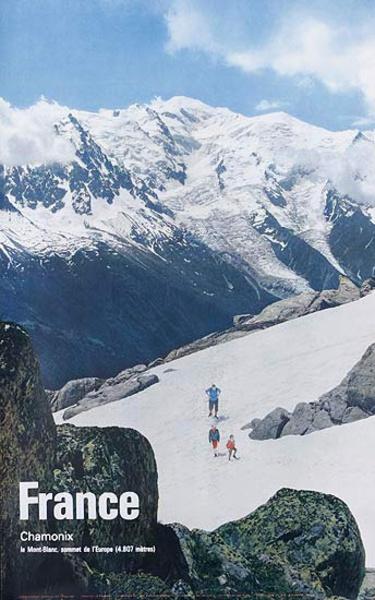 France Chamonix Hikers Original Travel Poster