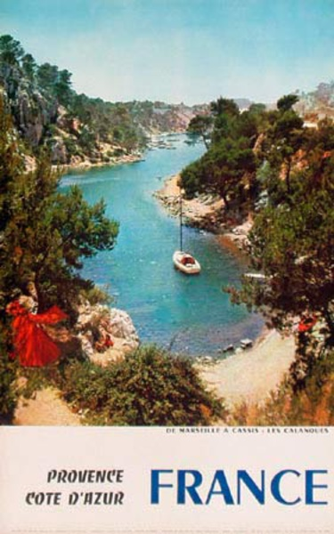 Provence Cote d'Azur France Camping Original Vintage French Travel Poster