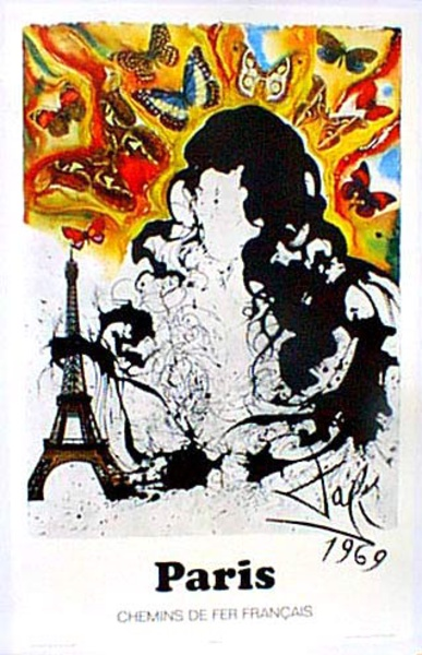 France Original Vintage Travel Poster Dali [[Paris]]