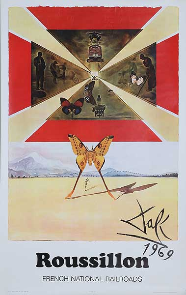 France Original Vintage Travel Poster Dali Roussillon