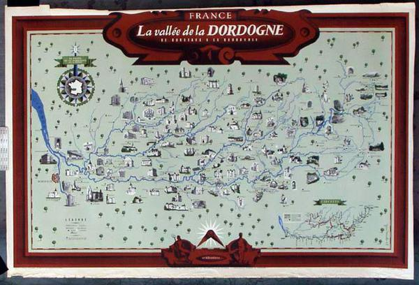 France Original Vintage Travel Poster Dordoigne Map
