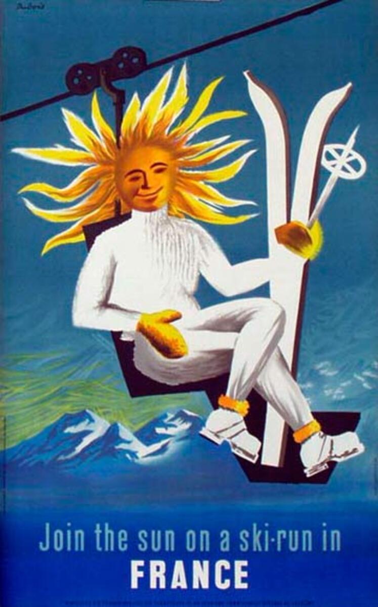 France Original Vintage Travel Poster Dubois Join The Sun On a Ski Run