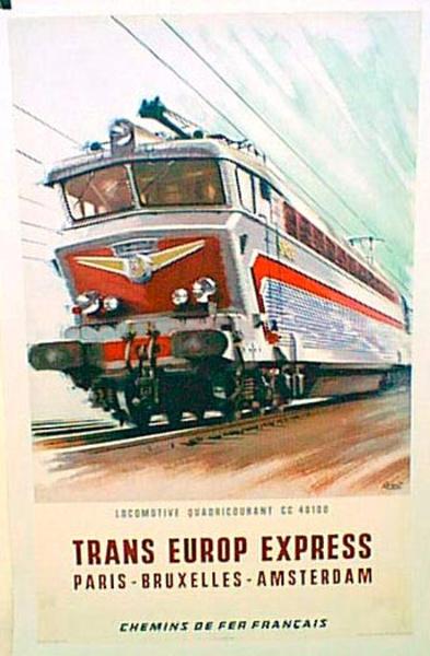 France Original Vintage Travel Poster Europe express