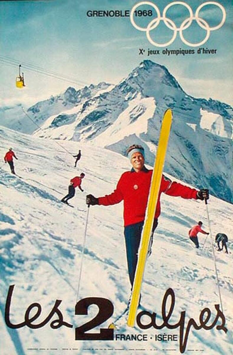 1968 Grenoble France Original Vintage Ski Travel Poster