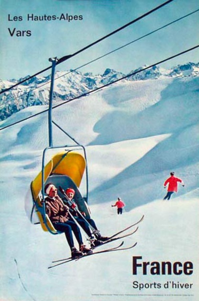 France Original Vintage Travel Poster [[Ski]] Lift