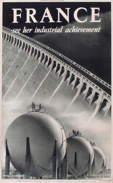 France Original Vintage Travel Poster Industrial Achievment