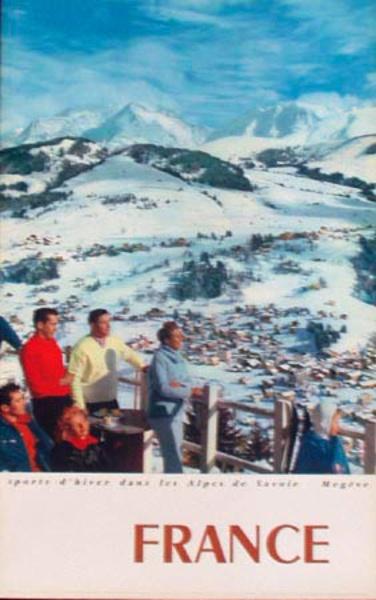Megeve France Winter Sports Original Vintage [[Ski]] Travel Poster