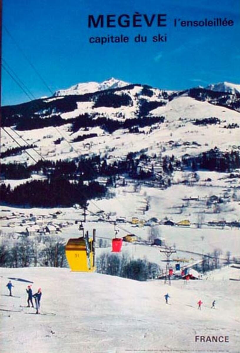 France Original Vintage Travel Poster Megev Ski