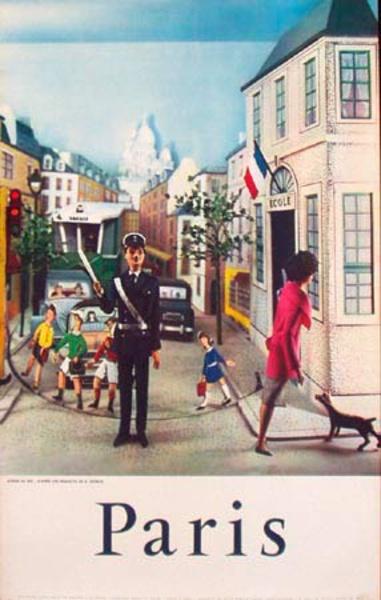 [[Paris]] France Original Vintage Travel Poster paper cutout people