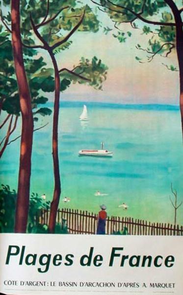 France Original Vintage Travel Poster Plages de France