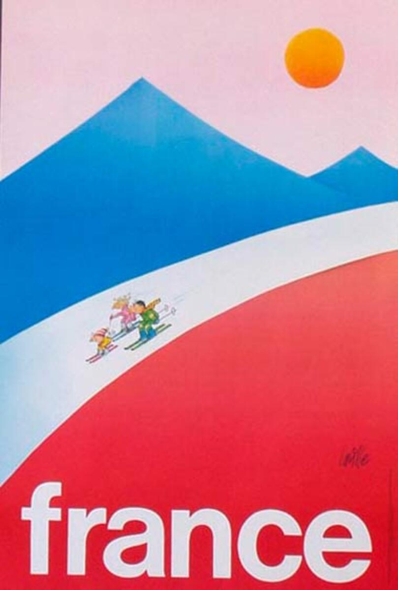 France Original Vintage Travel Poster Ski Cartoon