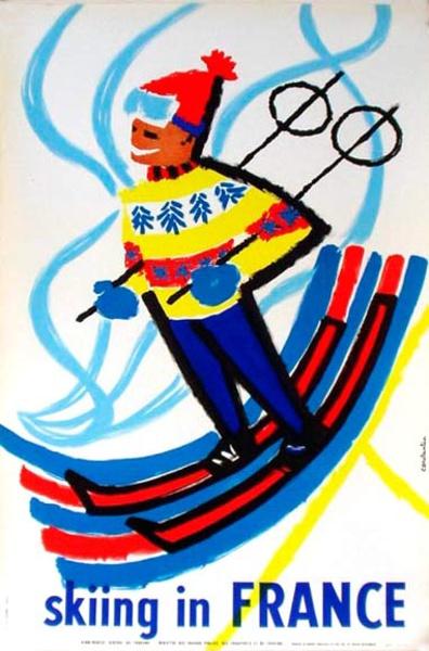 France Original Vintage Travel Poster Skiing in France