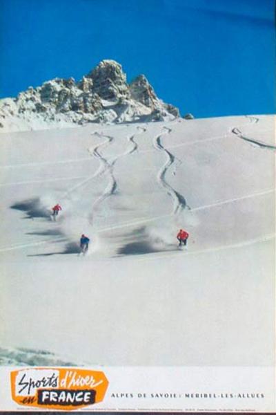 France Original Vintage Travel Poster Sports in Hiver ess turn Ski photo
