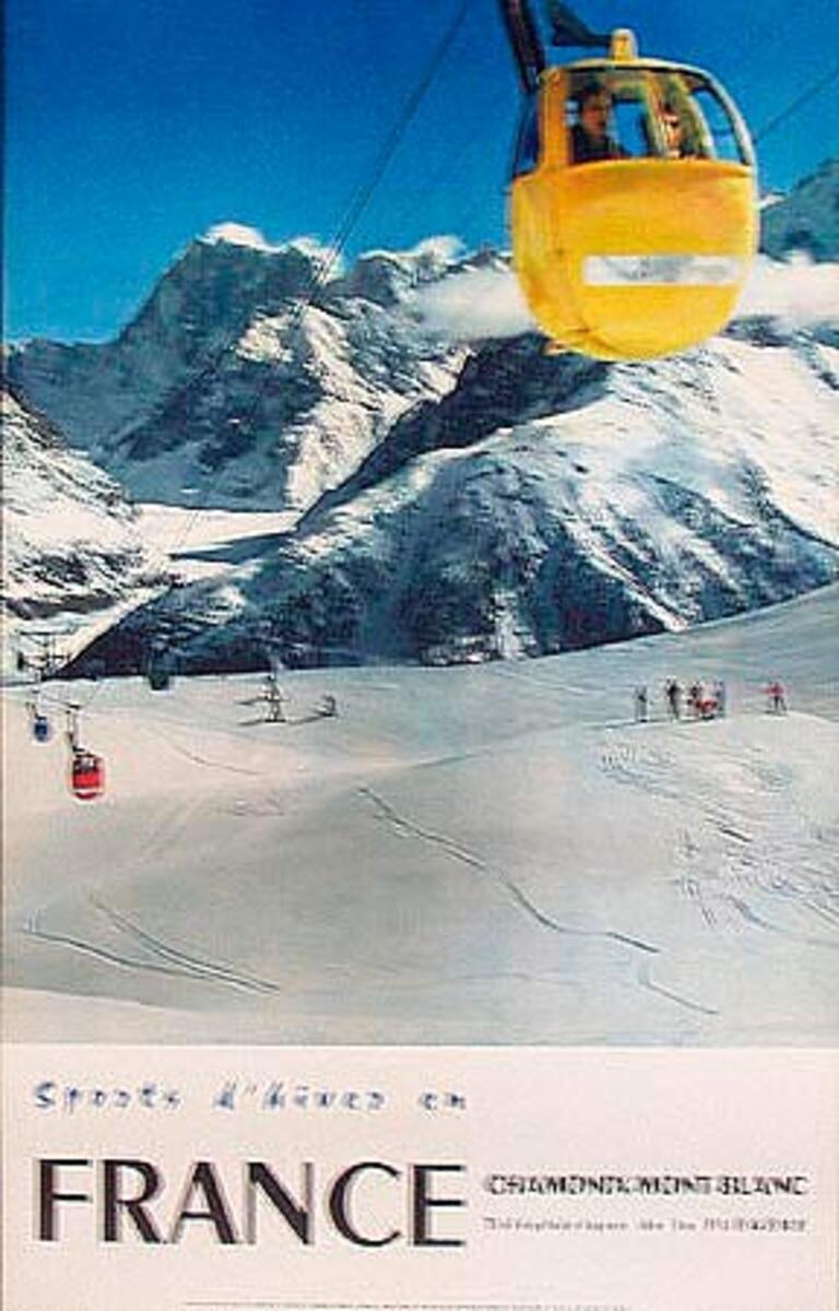 Sports d'Hiver en France Winter Sports Original French Ski Travel Poster yellow gondola